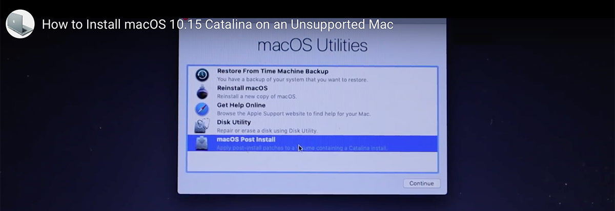 установка macOS Catalina с помощью DosDude Catalina Patcher