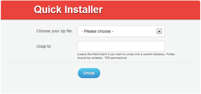 Unzip.php initial screen.