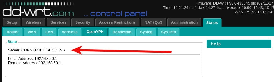 dd-wrt openvpn server CONNECTED SUCCESS