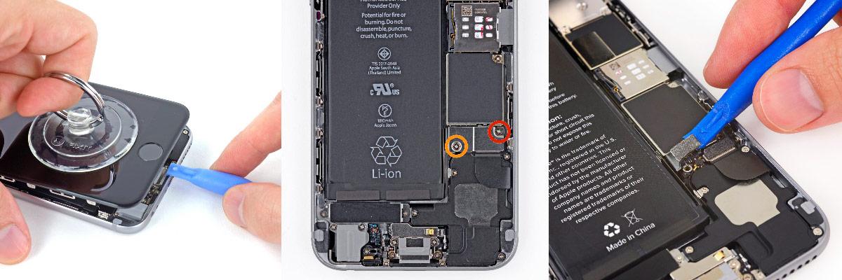 отключение аккумулятора с iPhone 6