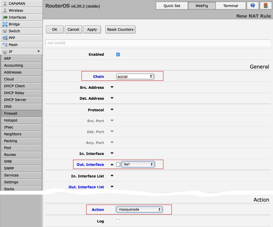 настройка подключения LTE модема на Microtik