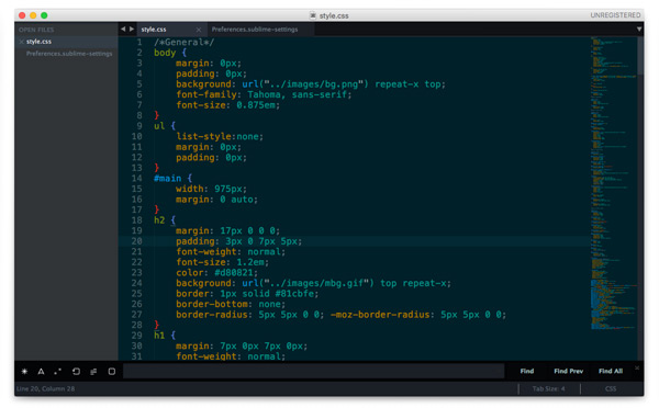 Sublime Text 3. тема оформления Spacegray + Solarized Dark
