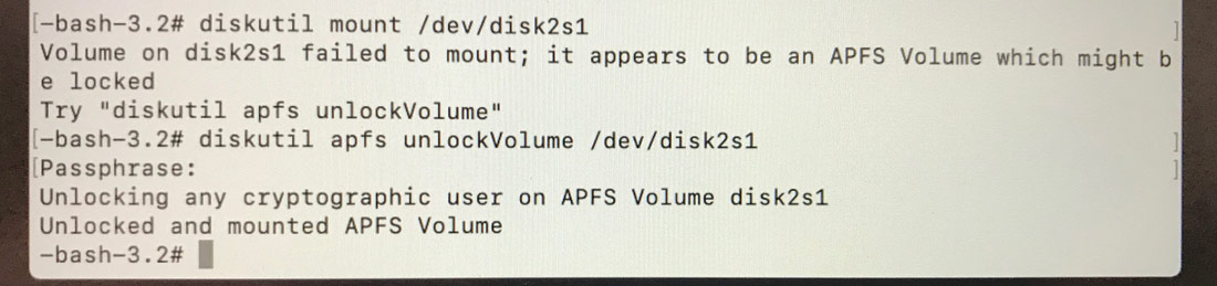 Volume in disk2s1 failed to mount; it appears to be an APFS Volume which might be locked